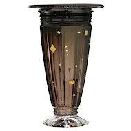 c.1930s Val St. Lambert Deco cased amethyst crystal Ardennes vase