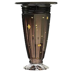 c.1930s Val St. Lambert Deco cased amethyst crystal Ardennes vase