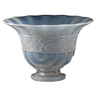 c.1930s French opalescent relief moulded Deco glass vase