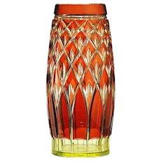 c.1930s Val St. Lambert rose over yellow uranium crystal vase
