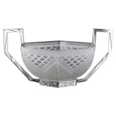 c.1930s Paul Daum Pierre d'Avesn moulded Deco glass bowl in metal stand