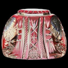 c.1920s-30s Val St. Lambert cranberry to clear crystal paperweight