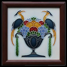c.1920s Grohn Germany Art Deco tile, framed