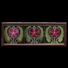 c.1905 Art Nouveau flower and leaf three tile panel, Ernst Teichert Meissen, framed
