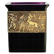 c.1920s Moser Karlsbad amethyst crystal container with figural frieze