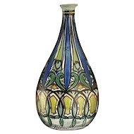 c.1930s Quenvit French Art Deco enamelled glass vase