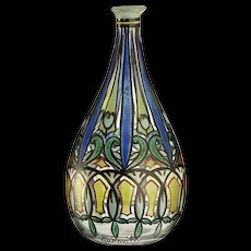 c.1930s Quenvit French Art Deco enamelled glass vase
