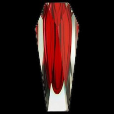 c.1960-70s Murano triple cased sommerso glass vase