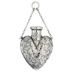 1899 Sampson Mordan engraved sterling silver scent perfume bottle
