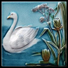 c.1900 Villeroy & Boch five tile Art Nouveau swans set, framed