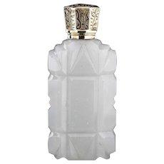 c.1880 Opaline Milk Glass Scent Perfume Bottle, Silver Gilt Top