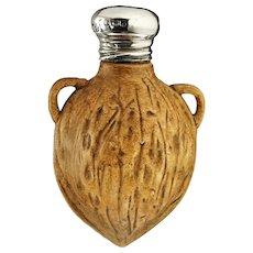 1907 Porcelain Walnut Scent Perfume Bottle, Sterling Top