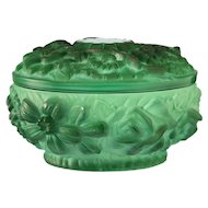 c.1930s Curt Schlevogt Ingrid Deco malachite glass pot and cover