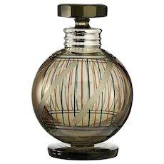 c.1950s Retro Smoky Olive Glass Engraved Decanter