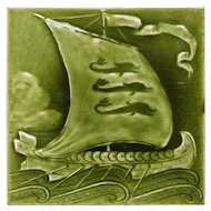 c.1890 Sherwin & Cotton Viking longship tile, framed