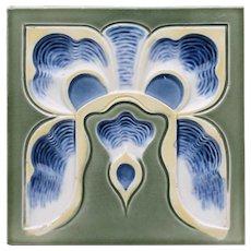 c.1905 German Art Nouveau intaglio floral tile, Tonwerk Offstein, framed