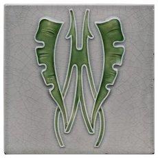 c.1905 M.O.&.P.F. German Art Nouveau stylised leaf tile