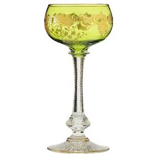 c.1910-20s acid etched & gilded green crystal wine glass, St. Louis France