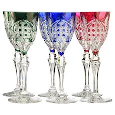 Six c.1960s Val St. Lambert Richepin Saarlouis cut to clear crystal wine hock glasses