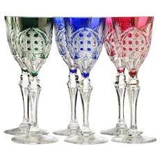 Six c.1960s Val St. Lambert Richepin Saarlouis cut to clear crystal wine hock glasses