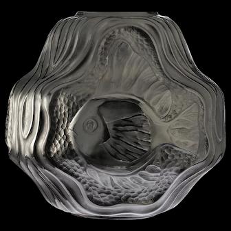 c.1930s French Art Deco Poisson Chinois glass vase, André Hunebelle, Roger Cogneville