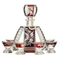c.1930s ruby flashed crystal Art Deco decanter & glasses set