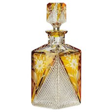 c.1930s Josephinenhütte amber flashed crystal Deco decanter