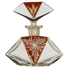 c.1930s Art Deco amber flashed and engraved crystal dressing table scent perfume bottle