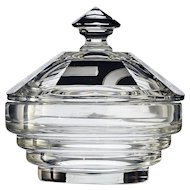 c.1930s Czech black enamelled Deco dressing table lidded glass bowl