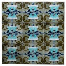 c.1900 Minton China works nine tile Art Nouveau panel, mounted