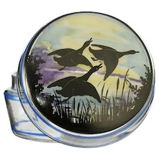 c.1930s Deco dressing table glass pot and cover with flying ducks