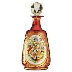 c.1900 Floral Enamelled Cranberry Glass Dressing Table Scent Perfume Bottle #2