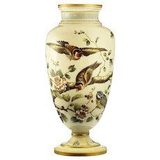 c.1880 tall Vaseline uranium glass vase with enamelled birds & flora, Josephinenhütte, Arthur Gerlach