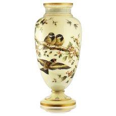 c.1880 tall Vaseline uranium glass vase with enamelled birds & flora, Josephinenhütte, Arthur Gerlach #2