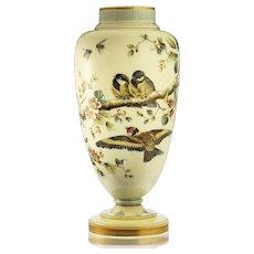 c.1880 tall Vaseline uranium glass vase with enamelled birds & flora, Josephinenhütte, Arthur Gerlach #3