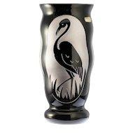 c.1930s Art Deco Boom Glass cameo art vase by Paul Heller