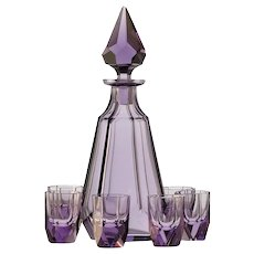 c.1960s Lilac Crystal Decanter & Glasses Set