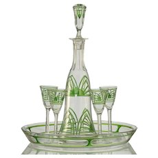 c.1920s-30s Modernist enamelled glass decanter & glasses set with tray