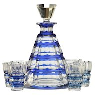 c.1950s-60s Val St. Lambert blue overlay Muscadet crystal decanter & glasses set