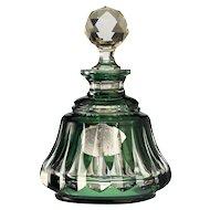 c.1950s Val St. Lambert emerald overlay crystal scent perfume bottle