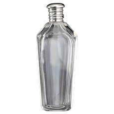 c.1870 French crystal scent perfume bottle, silver top