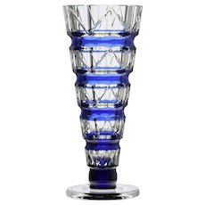 c.1930s Val St. Lambert blue over clear Deco crystal vase, Joseph Simon