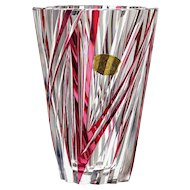 c.1960s-70s Val St. Lambert cranberry to clear crystal vase