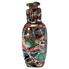 c.1890 Venetian coloured glass scent perfume bottle, cork stopper