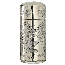 1887 Silver Cylinder Scent Perfume Bottle Engraved with Birds