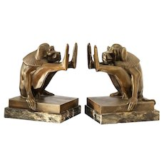 c.1930s French pair of bronze Art Deco baboon bookends