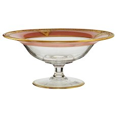 c.1920s deep pink gilded glass tazza compote, probably St. Louis France