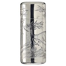 1881 Sampson Mordan silver scent perfume bottle engraved with hunting scene