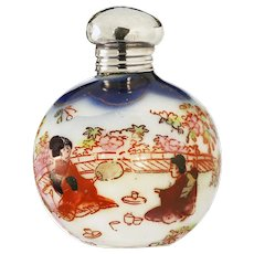 1901 Chinoiserie enamelled porcelain scent perfume bottle, silver top