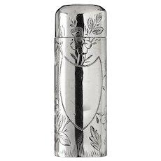 1886 Floral Engraved Sterling Silver Scent Perfume Bottle